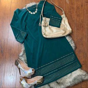 NWT Jessica Howard Emerald Green Dress Gold Studs